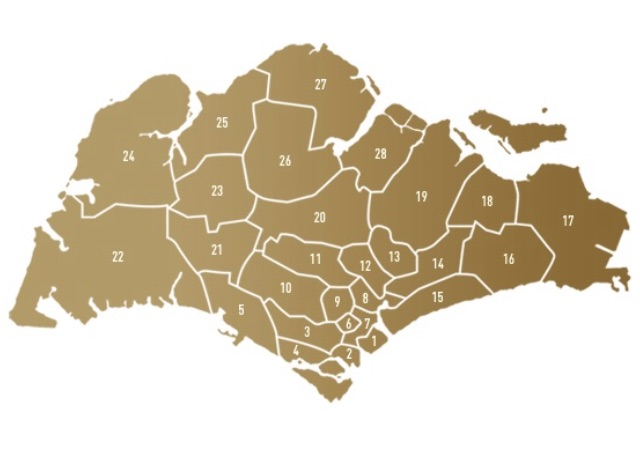 Map of Singapore by Districts