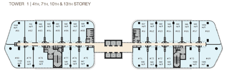 Woods Square Tower 1 floor plan