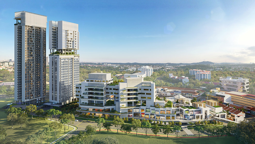 Aerial view of One Holland Village mixed development